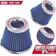 Filtro de Ar Esportivo Cônico RaceChrome Duplo Fluxo Médio Rc085