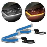 Fita de LED DRL Nissan Kicks Dual Color Universal 3000K 6000K 12V 6,8W Farol e Seta Luz Diurna Daylight 60cm