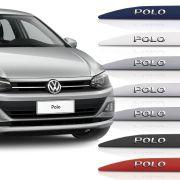Friso Lateral Volkswagen Polo Com Nome Alto Relevo Cromado 2018 19