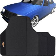 Jogo de Tapete Borracha Pvc Universal Chevrolet Chevette 1983 a 1995 Preto Bordado Carpete Antiderrapante Impermeável