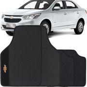 Jogo de Tapete Borracha Pvc Universal Chevrolet Cobalt 2012 13 14 15 16 17 18 19 Preto Bordado Carpete Antiderrapante Impermeável