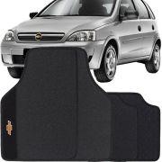 Jogo de Tapete Borracha Pvc Universal Chevrolet Corsa 2002 a 2014 Preto Bordado Carpete Antiderrapante Impermeável
