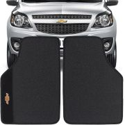 Jogo de Tapete Borracha Pvc Universal Chevrolet Montana 2011 12 13 14 15 16 Preto Bordado Carpete Antiderrapante Impermeável