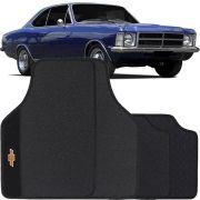 Jogo de Tapete Borracha Pvc Universal Chevrolet Opala 1972 a 1992 Preto Bordado Carpete Antiderrapante Impermeável