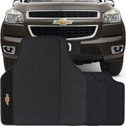 Jogo de Tapete Borracha Pvc Universal Chevrolet S-10 Cabine Dupla 2012 13 14 15 16 17 18 19 Preto Bordado Carpete Antiderrapante Impermeável