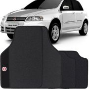 Jogo de Tapete Borracha Pvc Universal Fiat Stilo 2003 a 2011 Preto Bordado Carpete Antiderrapante Impermeável