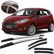 Kit Aventura Ford New Fiesta 2014 15 16 17 18 19 com Longarina Decorativa e Calha de Chuva Esportiva Fumê