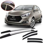 Kit Aventura Hyundai Hb20 2012 13 14 15 16 17 18 19 com Longarina Decorativa e Calha de Chuva Esportiva Fumê