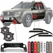 Kit Aventura Renault Duster Oroch 2016 17 18 19 Completo Com Front Bumper Farol de Milha Calha de Chuva e Friso Lateral na Cor Original