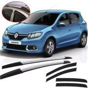 Kit Aventura Renault Sandero 2012 13 14 15 16 17 18 19 com Longarina Decorativa e Calha de Chuva Esportiva Fumê