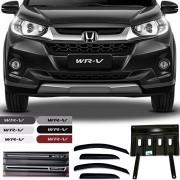 Kit Completo Honda Wrv 2017 18 19 Com Calha de Chuva Esportiva Soleira Resinada Protetor de Carter Friso Lateral na Cor Original