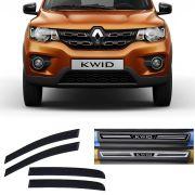 Kit Calha de Chuva Esportiva com Soleira Resinada Premium Renault Kwid 2017 18 19