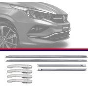 Kit Capa de Maçaneta Cromada Com Friso Inferior Cromado Fiat Cronos 2017 18 Modelo Igual Top de Linha