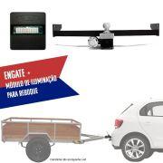 Kit Engate Rabicho de Reboque com Módulo de Iluminação de Reboque Para Carretinhas Volkswagen Gol 2013 14 15 16 17 18 19 Connect 1AX