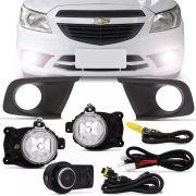 Kit Farol de Milha Completo Chevrolet Onix 2012 13 14 15 16 Prisma 2013 14 15 Com Moldura Preta Auxiliar Neblina