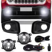 Kit Farol de Milha Completo Jeep Renegade 2015 16 17 18 19 Moldura Preta