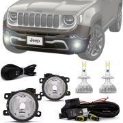 Kit Farol de Milha Completo Jeep Renegade 2019 20 com Ultra Led H11