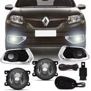 Kit Farol de Milha Completo Renault Sandero 2015 16 17 18 19 Auxiliar Neblina