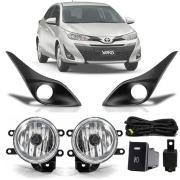 Kit Farol de Milha Completo Toyota Yaris Hatch Sedan 2018 19 20 21 Auxiliar Neblina Moldura Black