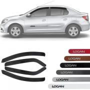 Kit Friso Lateral na Cor Original e Calha de Chuva Esportiva Renault Logan 2015 16 17 18 19