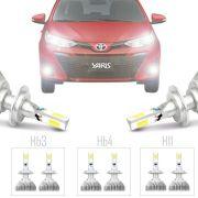 Kit Iluminação Completo Super Led Xenon Baixo Alto Milha Toyota Yaris 2018 19 H11 Hb3 Hb4