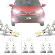 Kit Iluminação Completo Super Led Xenon Baixo Alto Milha Toyota Yaris 2018 19 H16 Hb3 Hb4