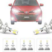 Kit Iluminação Completo Super Led Xenon Baixo Alto Milha Toyota Yaris 2018 19 H16 Hb3 H11