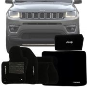 Kit Jeep Compass 2018 19 Tapete Carpete com Tapete Porta Malas e Bolsa Organizadora