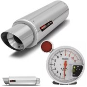 Kit Performance Abafador Esportivo e Conta Giro Velocimetro C/ Shift Light Prata / Inox