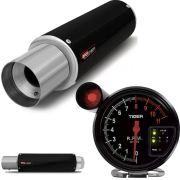 Kit Performance Abafador Esportivo e Conta Giro Velocimetro C/ Shift Light Preto / Inox