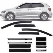 Kit Soleira Resinada Premium e Calha de Chuva Esportiva Volkswagen Polo 2018 19