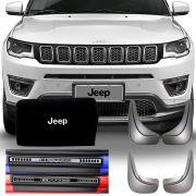 Kit Jeep Compass 2017 18 19 Soleira Resinada Premium com Flap Lameira Apara Barro e Bolsa Organizadora de Porta Mala
