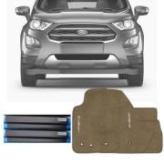 Kit Tapete Carpete Bege e Soleira Resinada Premium Ford Nova EcoSport 2018 19