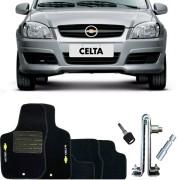 Kit Tapete Carpete e Trava de Segurança Pedal Chevrolet Celta