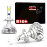 Lâmpada Super LED 3D Headlight H3 6000K 50W Efeito Xênon Com Fonte Embutida
