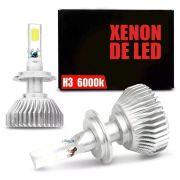 Lâmpada Super LED Headlight H3 6000K 50W Efeito Xênon Com Fonte Embutida