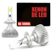 Lâmpada Super LED Headlight H4 6000K 50W Efeito Xênon Com Fonte Embutida