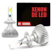 Lâmpada Super LED Headlight H1 6000K 50W Efeito Xênon Com Fonte Embutida