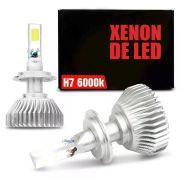 Lâmpada Super LED Headlight H7 6000K 50W Efeito Xênon Com Fonte Embutida