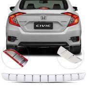 Protetor de Porta Malas Cromado Flash Honda Civic 2017 18 19 Geração 10