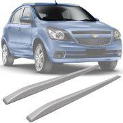 Rack de Teto Longarina Slim Decorativo Chevrolet Agile 2009 10 11 12 13 14 Prata Preto 2 Peças Fácil Aplicação Dupla Face