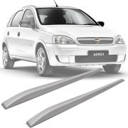 Rack de Teto Longarina Slim Decorativo Chevrolet Corsa 2002 a 2014 Prata Preto 2 Peças Fácil Aplicação Dupla Face