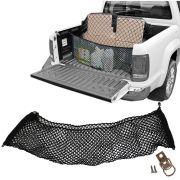 Rede CargoBag Elástica de Contenção Bagagem Para Caçamba de Pickup Pick Up CargoNet Preta Universal Volkswagen Amarok