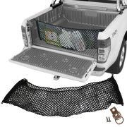 Rede CargoBag Elástica de Contenção Bagagem Para Caçamba de Pickup Pick Up CargoNet Preta Universal Ford Ranger