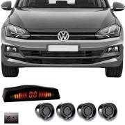 Sensor de Estacionamento 4 Pontos Volkswagen Polo 2018 2019 Com Alerta Sonoro