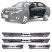 Soleira de Aço Inox Escovado Chevrolet Cobalt 4 Portas 2004 05 06 07 08 09 10 11 12 13 14 15 16 17 18 19