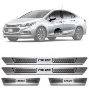 Soleira de Aço Inox Escovado Chevrolet Cruze 4 Portas 2012 13 14 15 16 17 18 19