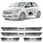 Soleira de Aço Inox Escovado Chevrolet Onix 4 Portas 2013 14 15 16 17 18 19