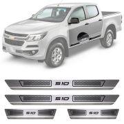 Soleira de Aço Inox Escovado Chevrolet S-10 S10 4 Portas 2013 14 15 16 17 18 19