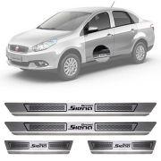 Soleira de Aço Inox Escovado Fiat Grand Siena 4 Portas 2013 14 15 16 17 18 19